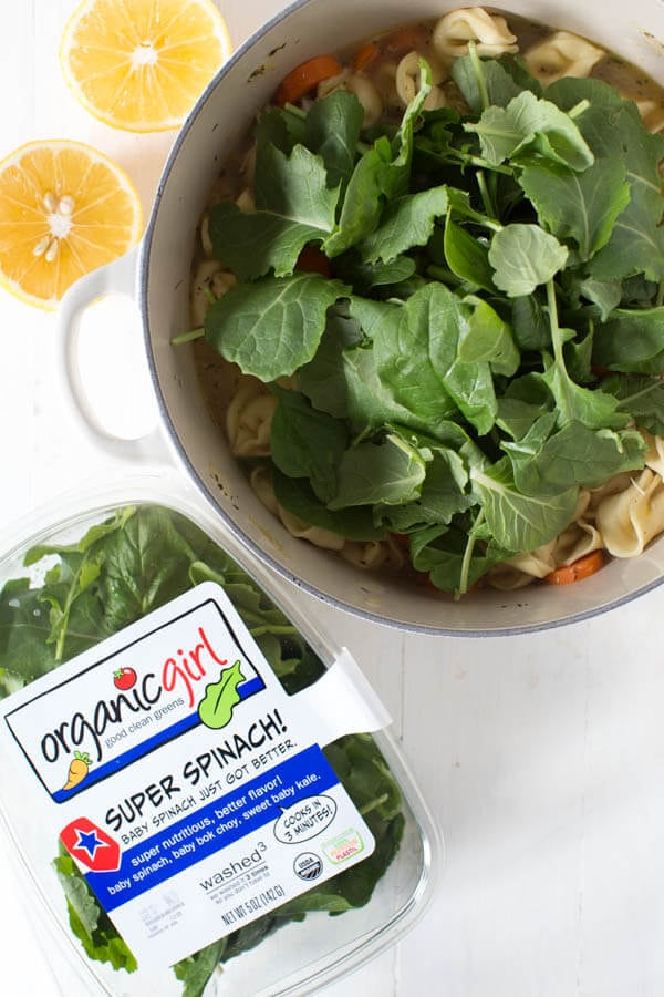 One Pot Lemon Chicken Tortellini Soup with Greens is made with the freshest ingredients and comes together in little time!