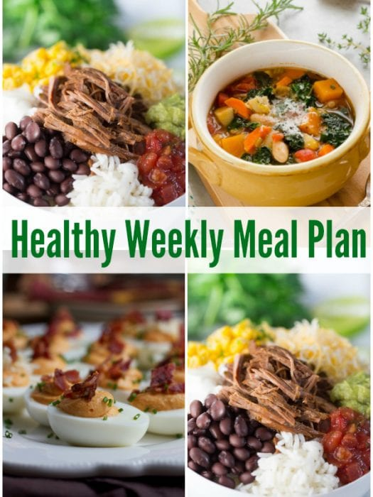 Prepare for the week ahead with a healthy weekly meal plan featuring Slow Cooker Barbacoa Beef Burrito Bowls, Cheesy Zucchini Quinoa Egg Muffins and more!