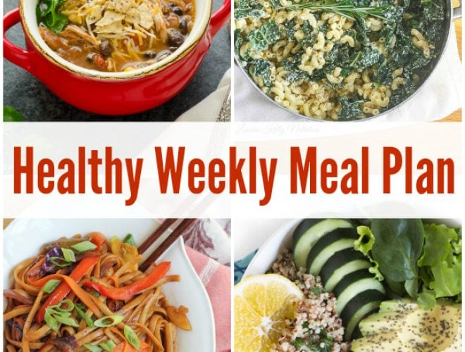Plan for the week ahead by enjoying a healthy weekly meal plan with Thai Coconut Peanut Chicken Noodles, Berry Green Buddha Bowl and more!
