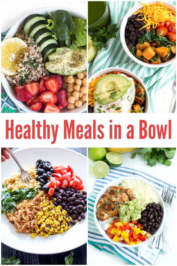 10 Healthy Meals in a Bowl featuring all-time favorites such as Sweet Potato and Black Bean Quinoa Bowls, Chipotle Chicken Taco Bowls and more!