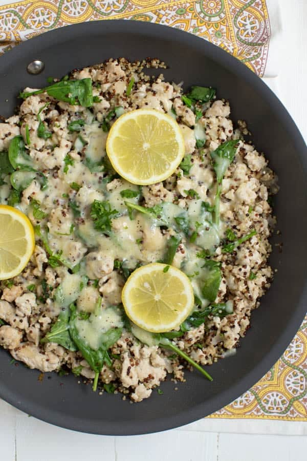 Lemon chicken quinoa skillet with baby spinach spoonful of flavor lemon chicken quinoa skillet with baby spinach cooks in one pan and creates a healthy meal forumfinder Image collections