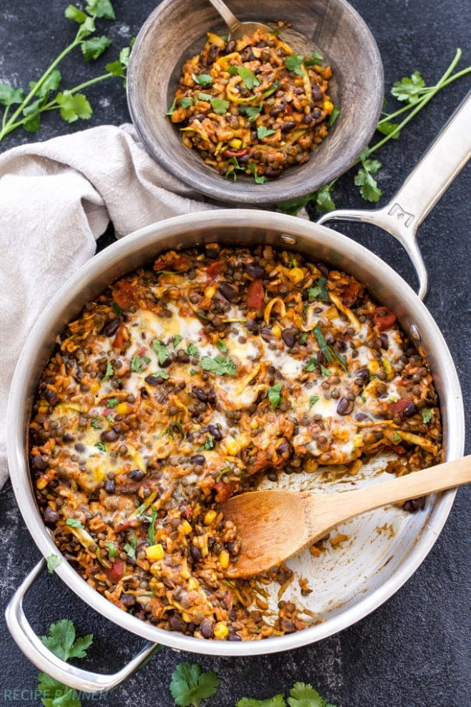 One Pot Cheesy Mexican Lentils, Black Beans and Rice | www.reciperunner.com