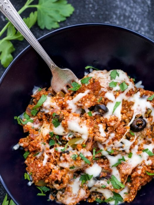 One Pot Supreme Pizza Quinoa Casserole is a great way to get your pizza fix, but in a healthier and more wholesome way. You'll love how easy and how quick this one pot meal is to make!   www.reciperunner.com