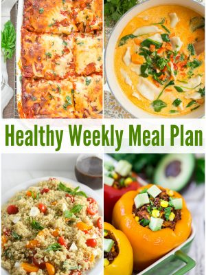 Healthy Weekly Meal Plan with Caprese Quinoa Salad, Ratatouille Lasagna, Thai Coconut Pot Sticker Soup and more tasty recipes makes weeknight meals easy!