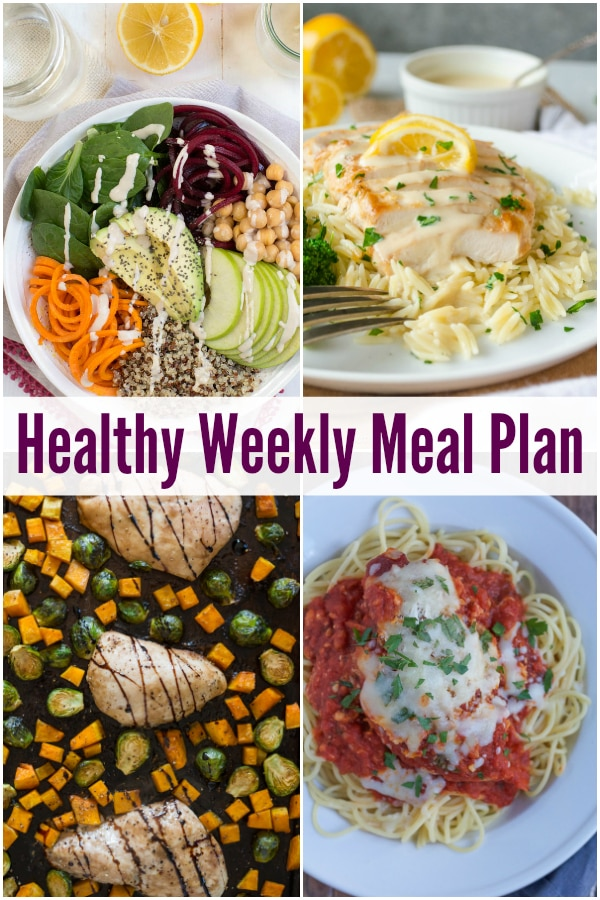 Five fresh and flavorful recipes create a healthy weekly meal plan with One Pan Maple Balsamic Chicken, Slow Cooker Chicken Parmesan, Kale Bacon Manchego Pizza and more!