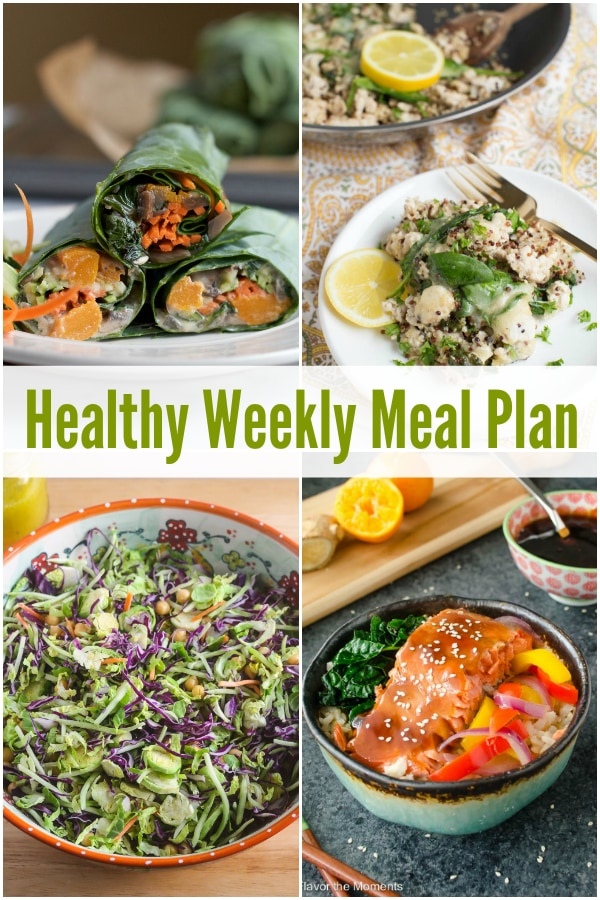 Roasted Butternut Squash Collard Wraps, Simple Chopped Salad, Maple Orange Salmon Teriyaki Bowls and more on this week's Healthy Weekly Meal Plan!