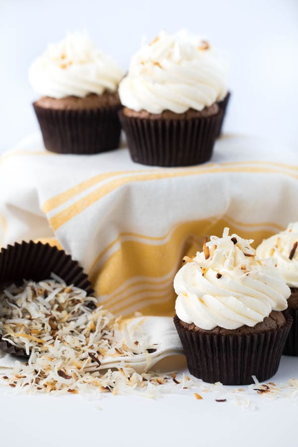 Toasted Coconut Brownie Cupcakes with Marshmallow Buttercream Frosting are perfect for birthdays, celebrations or even just dessert!
