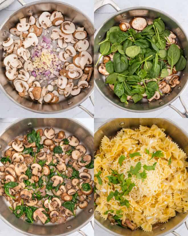 cooking ingredients for mushroom and spinach pasta in pan