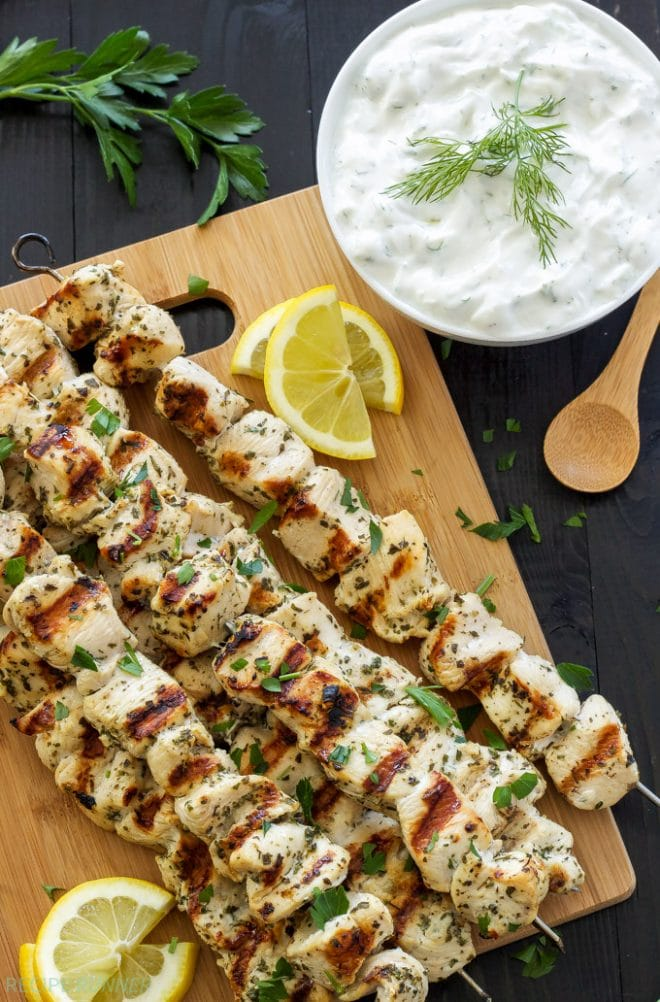 Greek Lemon Chicken Skewers with Tzatziki Sauce | www.reciperunner.com