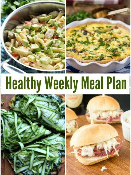 Plan for the week ahead and use this Healthy Weekly Meal Plan with Shaved Asparagus and Pesto Pizza, Cheese Quinoa and Bacon Casserole and more!