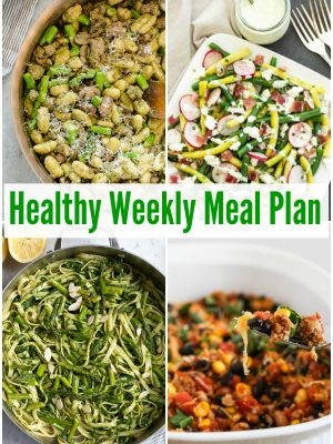 Grab this week's healthy weekly meal plan with Mexican Casserole, Lemony Pesto Pasta with Asparagus, Quinoa Chickpea Cauliflower Curry Stew and more!