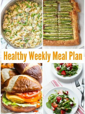 Start your week off right and enjoy a healthy weekly meal plan with buffalo quinoa burgers, chopped Mexican kale salad, strawberry spinach and asparagus salad and more!