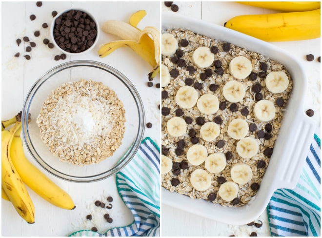 Banana Chocolate Chip Coconut Baked Oatmeal is made with coconut milk, maple syrup, fresh bananas, shredded coconut and chocolate chips to create a healthier option for breakfast!