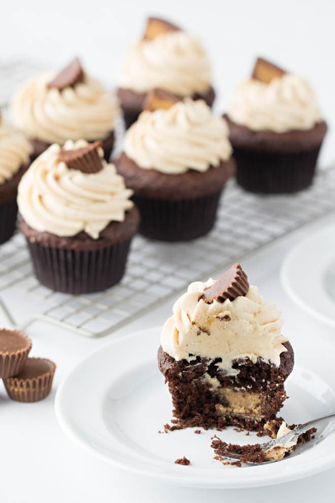 Chocolate Peanut Butter Cupcakes are made with a classic chocolate cake stuffed with peanut butter cups and topped with a creamy peanut butter cream cheese frosting!
