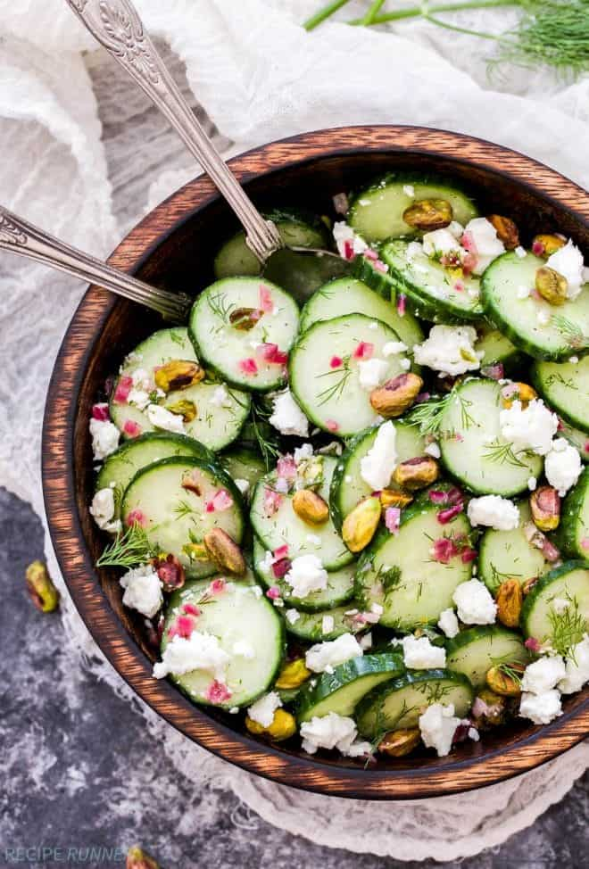 Say hello to your new favorite, refreshing salad - Cucumber, Dill, Feta and Pistachio Salad. Crisp cucumbers, fresh dill, salty feta and crunchy pistachios are the perfect combination of flavors!
