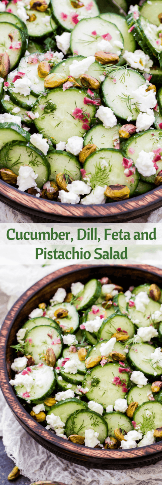Say hello to your new favorite, refreshing salad - Cucumber, Dill, Feta and Pistachio Salad. Crisp cucumbers, fresh dill, salty feta and crunchy pistachios are the perfect combination of flavors! www.reciperunner.com