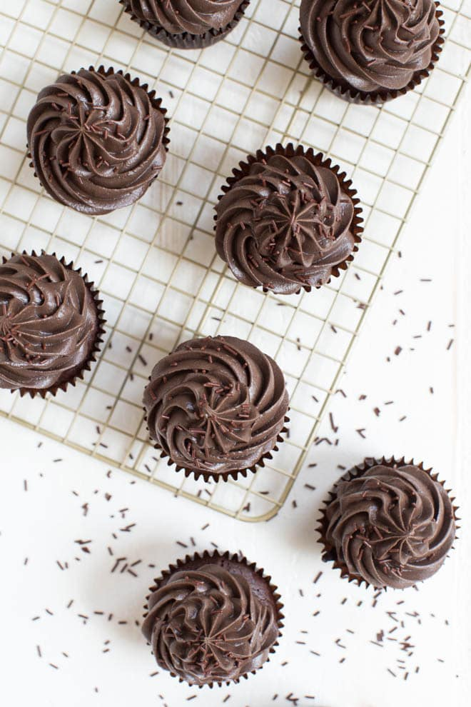 Flourless Mexican Chocolate Cupcakes are a gluten free delectable dessert made with a rich chocolate cake and topped with chocolate cream cheese frosting! A kick of cayenne pepper adds a fun twist to create a spicy treat.
