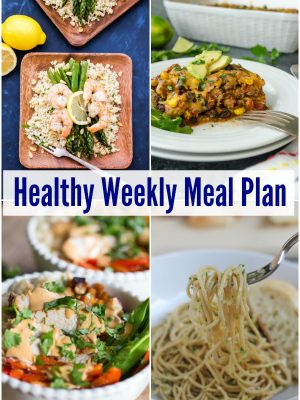 Plan for the week ahead with a healthy weekly meal plan with Mexican turkey tortilla casserole, Thai peanut turkey bowls, whole grain pasta with vegetable pesto and more!