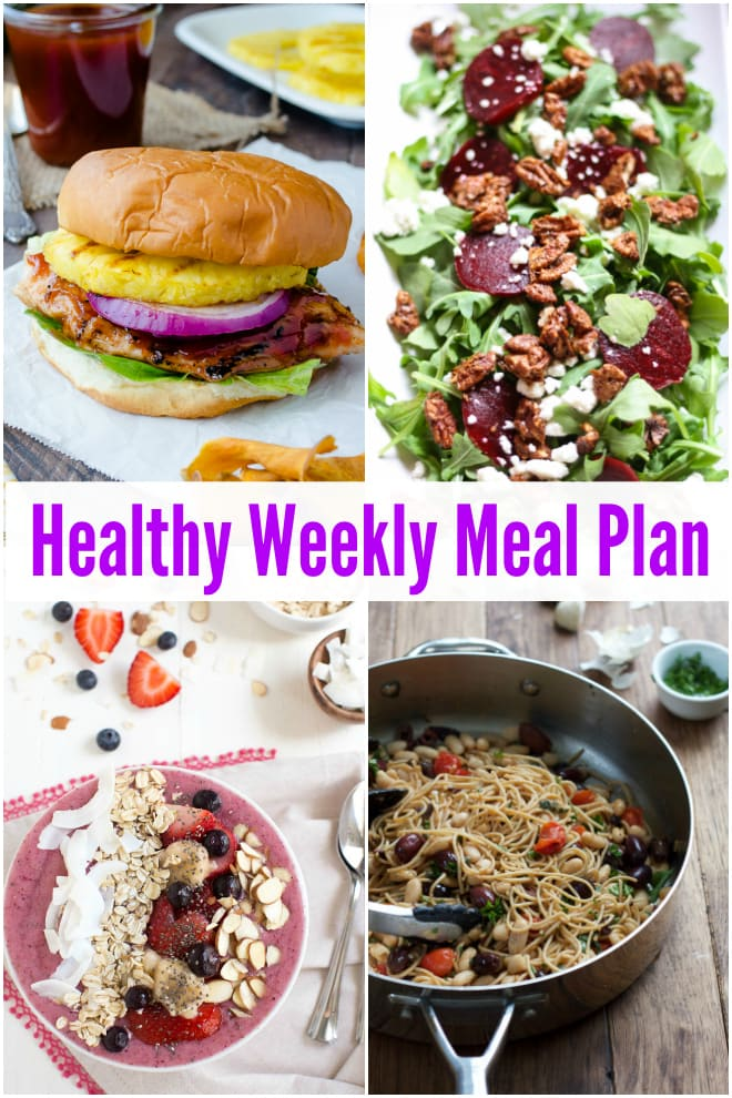 Use this Healthy Weekly Meal Plan with BLT Chopped Salad, Berry Kale Smoothie Bowl, Arugula Beet Salad and more to plan for your week ahead!