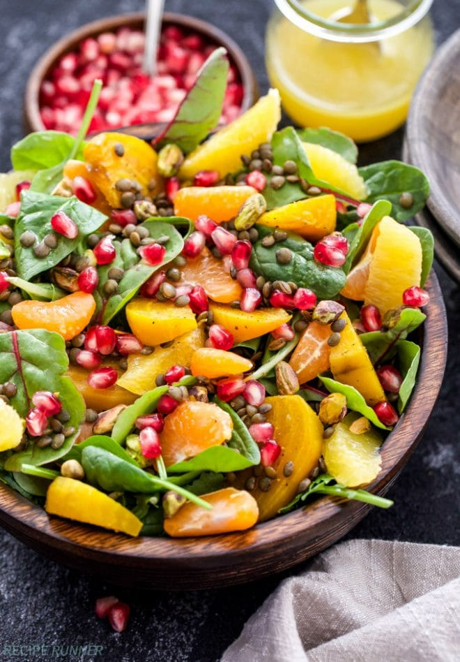 A superfood salad that's as delicious as it is beautiful! Nourish your body with this Roasted Golden Beet, Citrus, Lentil Salad. Perfect as a meatless main dish or side dish! www.reciperunner.com