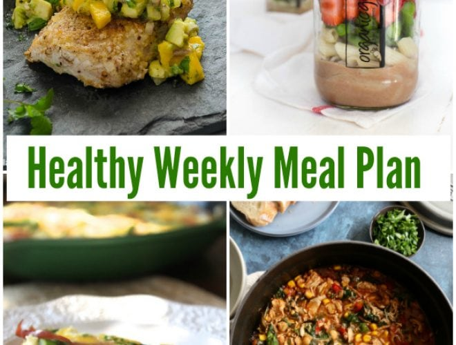 Make meal planning easy and enjoy a healthy weekly meal plan with White Bean Chicken Chili Soup, Spinach Avocado and Goat Cheese, Quesadilla, Spring Green Mason Jar Salads and more!