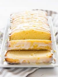 Glazed lemon pound cake is tender, sweet and full of lemon flavor. | www.ifyougiveablondeakitchen.com