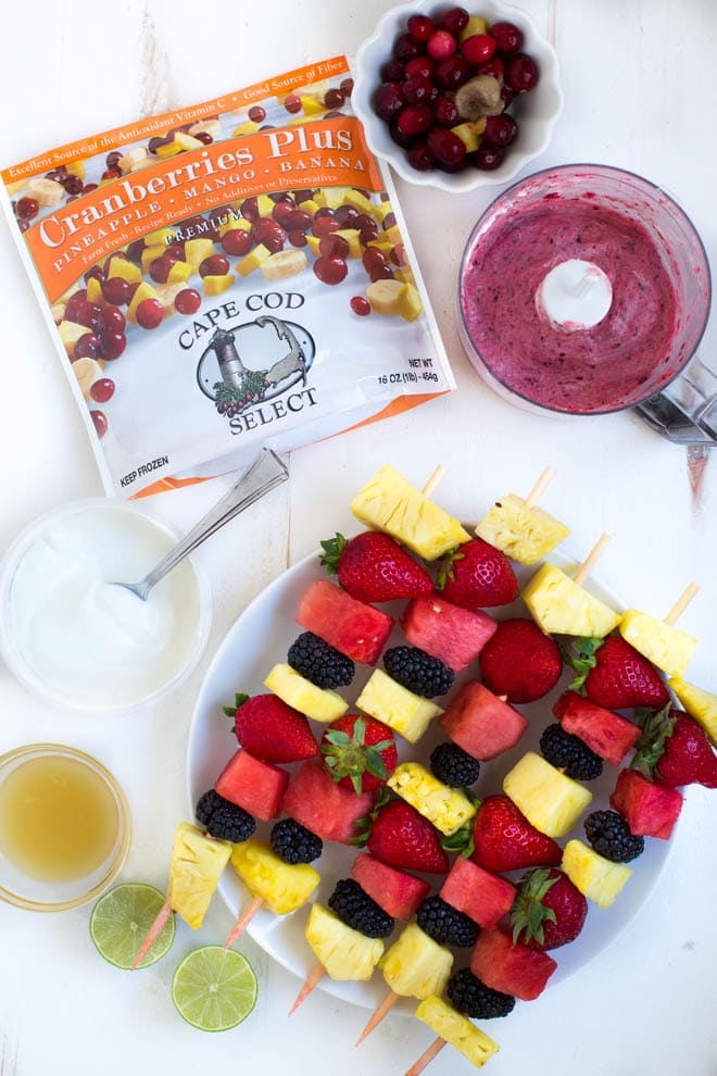 Grilled Fruit Kabobs with Tropical Cranberry Fruit Dip are a summertime treat that is good for you too.