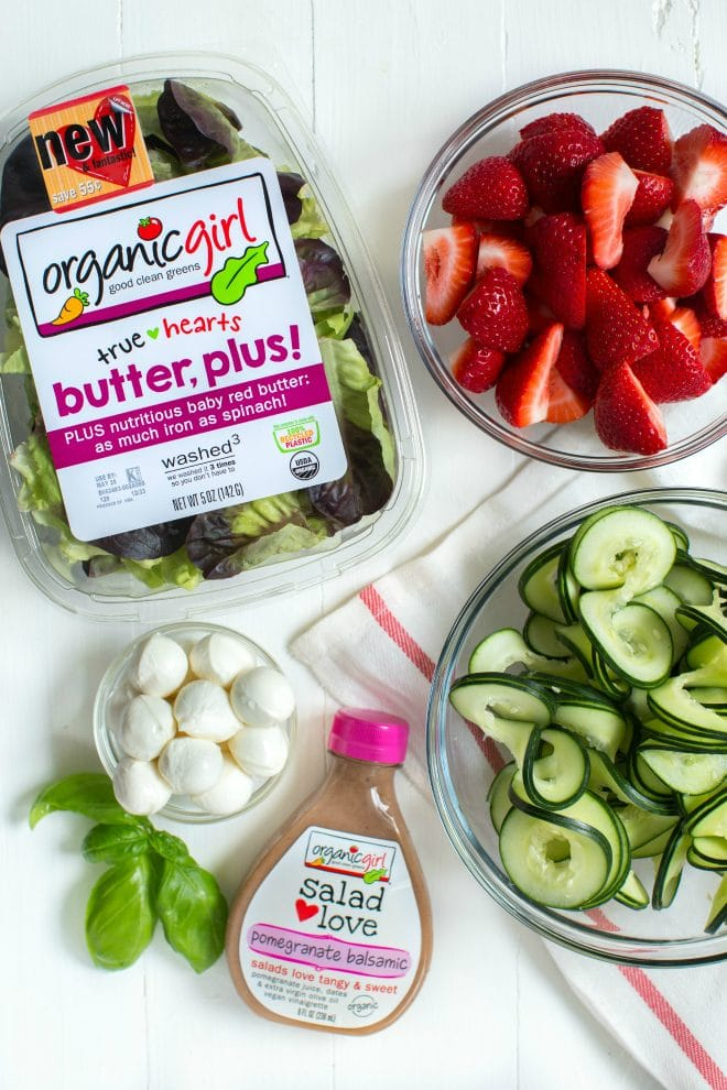 Strawberry, Cucumber and Mozzarella Salad is made with only five ingredients including a flavorful pomegranate balsamic dressing! Enjoy as a side or main dish for summer or all year long.