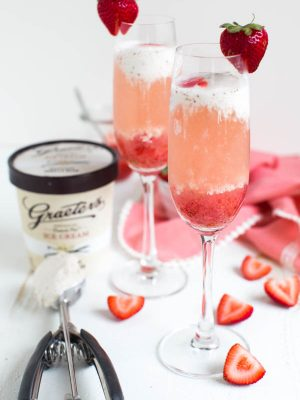 Strawberry Rosé Ice Cream Float is made with only three ingredients to create a unique, fresh and fun ice cream float that can be enjoyed at dinner parties, brunch and more!
