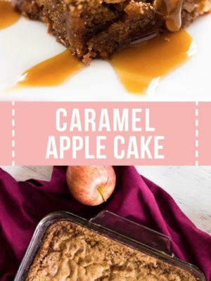 slice of apple cake with caramel sauce