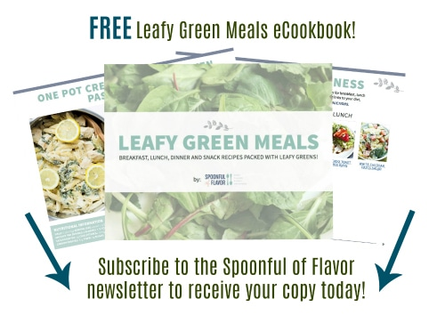 Leafy Green Meals FREE eCookbook features breakfast, lunch, dinner and snack recipes packed with leafy greens! Download your free copy today.