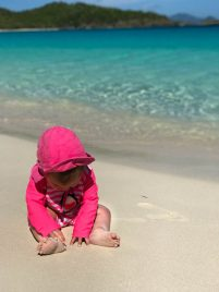 Are you planning a trip with your small children to St. John, U.S. Virgin Islands? Read my guide for traveling with a baby or toddler to St. John, U.S. Virgin Islands including tips for flying with small children, packing and more!