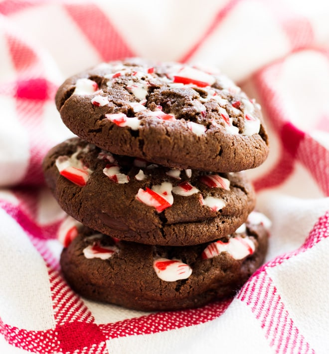 Double Chocolate Chip Peppermint Cookies are chewy and filled with peppermint flavor.