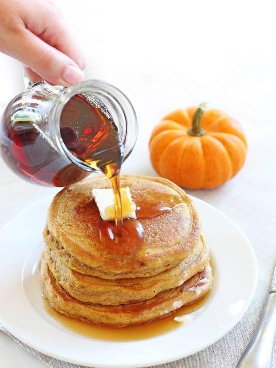 Fluffy pumpkin pancakes | www.ifyougiveablondeakitchen.com