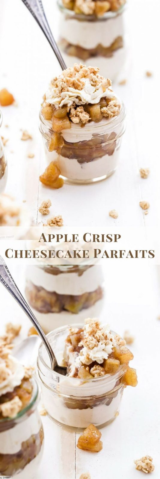 Apple Crisp Cheesecake Parfaits are the perfect dessert for fall and the upcoming holidays! Layers of creamy cinnamon cheesecake, apple pie filling and all topped off with crunchy granola and whipped cream.