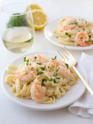 Lemon Garlic White Wine Shrimp Fettuccine Pasta is an easy yet impressive meal for any day of the week.