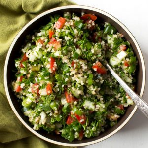 Easy Chopped Tabbouleh Salad is a light and fresh salad made with bulgur wheat, parsley, tomatoes, cucumbers and a few simple seasonings! Enjoy it for lunch or as a side dish to grilled meats.