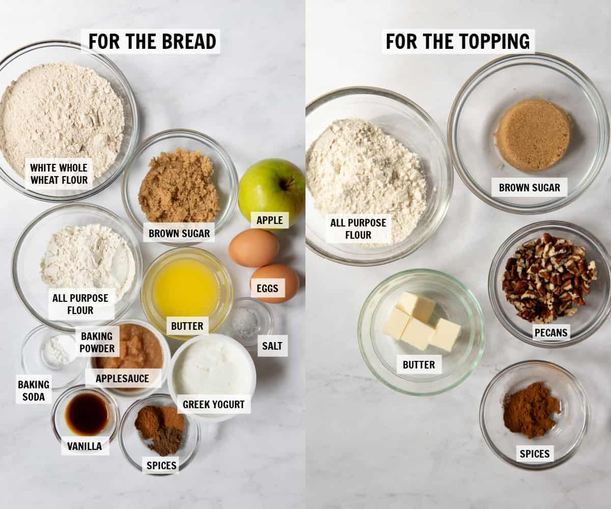 all of the ingredients for apple cinnamon bread on a white tabletop