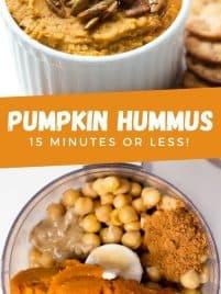 sweet pumpkin hummus in a white bowl