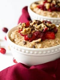Cranberry Dark Chocolate Chunk Steel Cut Oatmeal is a quick and easy meal packed with flavor! Use leftover cranberry sauce, chopped dark chocolate, nuts and creamy steel cut oats.
