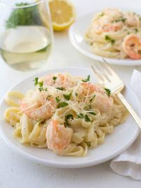 shrimp fettuccine pasta on a plate