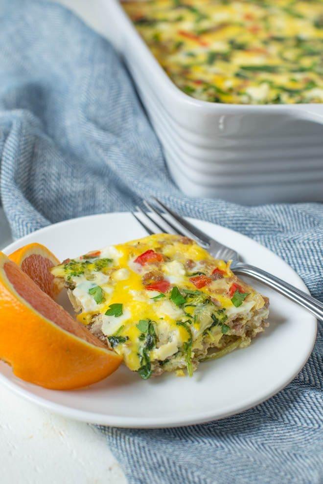 Sausage, Spinach and Feta Egg Bake