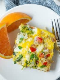 Sausage, Spinach and Feta Egg Bake is an easy breakfast recipe made from a few fresh and simple ingredients! Breakfast sausage, greens, red pepper and feta are combined with eggs to create a meal that tastes great as leftovers too.