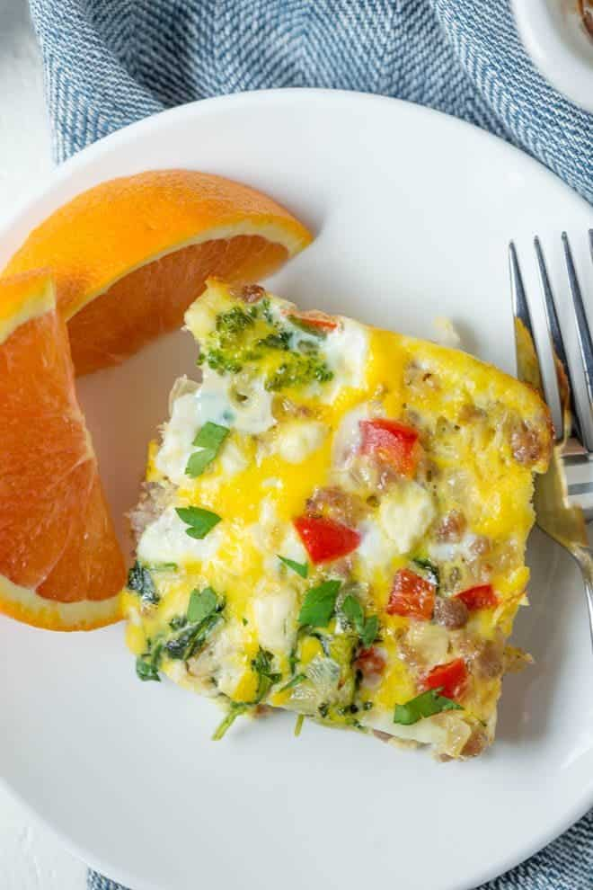 Sausage Spinach And Feta Egg Bake Is An Easy Breakfast Recipe Made From A Few
