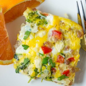 one slice of egg bake on a plate