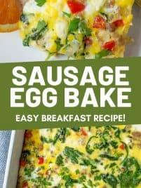slice of sausage egg bake on a plate