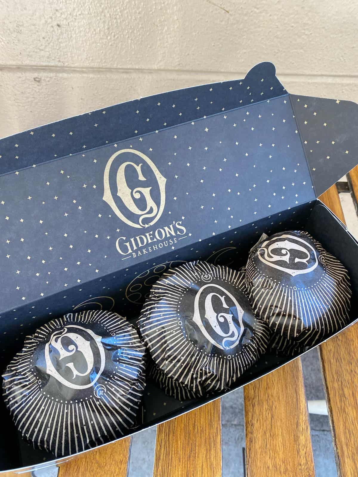 six gideon's bakehouse cookies in a box