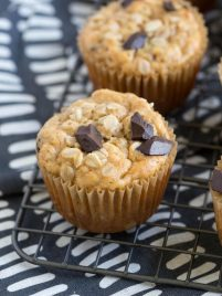 Chocolate Chunk Peanut Butter Banana Oat Muffins are made with wholesome ingredients and are naturally gluten free and vegan. Kids and adults love them! #chocolate #banana #peanutbutter #oat #muffins #recipe #breakfast #snack #healthy