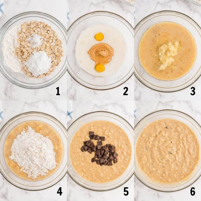 mixing together ingredients for muffins in a bowl