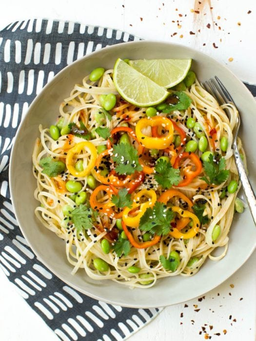 Thai Mango Edamame Noodle Salad Bowls are a sweet and spicy meal packed with wholesome carbohydrates and plant-based protein! The entire meal comes together easily and is perfect for meal prep. #healthy #recipe #salad #noodle #bowl